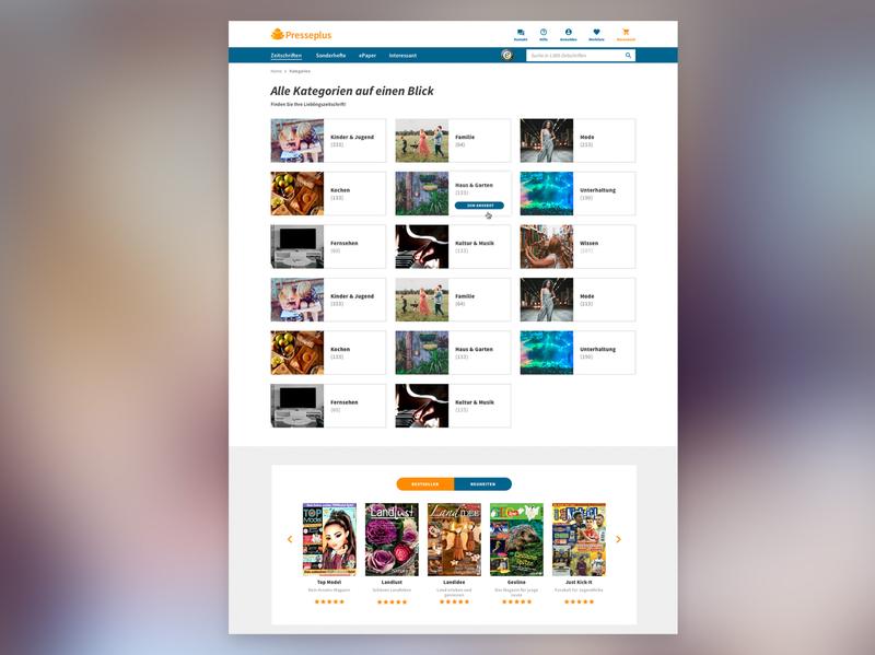 categories page for presseplus.de categories website screendesign uidesign interactive interface ui