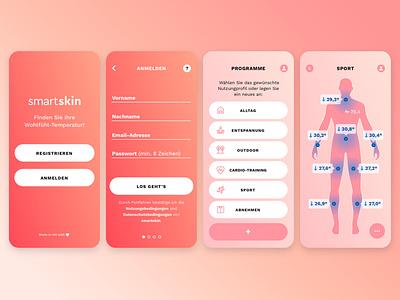 smartskin app ui concept startup wearables smart clothes app mobile interface interactive ui