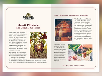 double page advertorial for mazzetti italy food indesign double page spread print advertorial