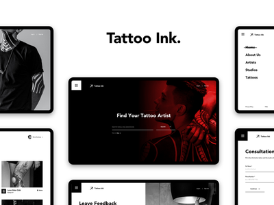tattoo ink. minimal website design tattoo web ux ui