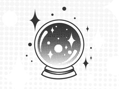 Future Vision crystal ball mystic vector illustration icon