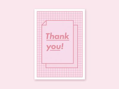 Thank You Card thank you greeting card debut futura dots grid pattern flat pink