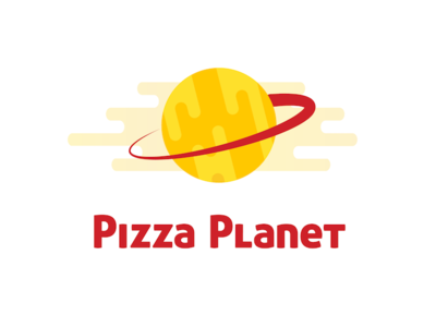 Pizza Planet Logo ring space identity branding red yellow orange logo pizza planet toy story planet cheese