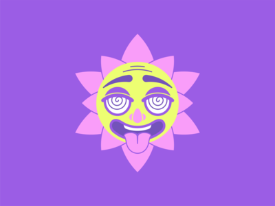 Acid Sun hypno art color design flat party sunshine avatar sunny summer house vector illustration character sun