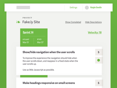 Sprint Planning card simple green scrum sprint timeline flat web app typography ui design