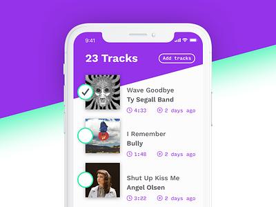Music To-Listen App (Concept) todo purple green concept list music mobile app design ui