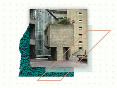 Barbican Blog Post (Artwork) shadow photography green grid brutalist illustration