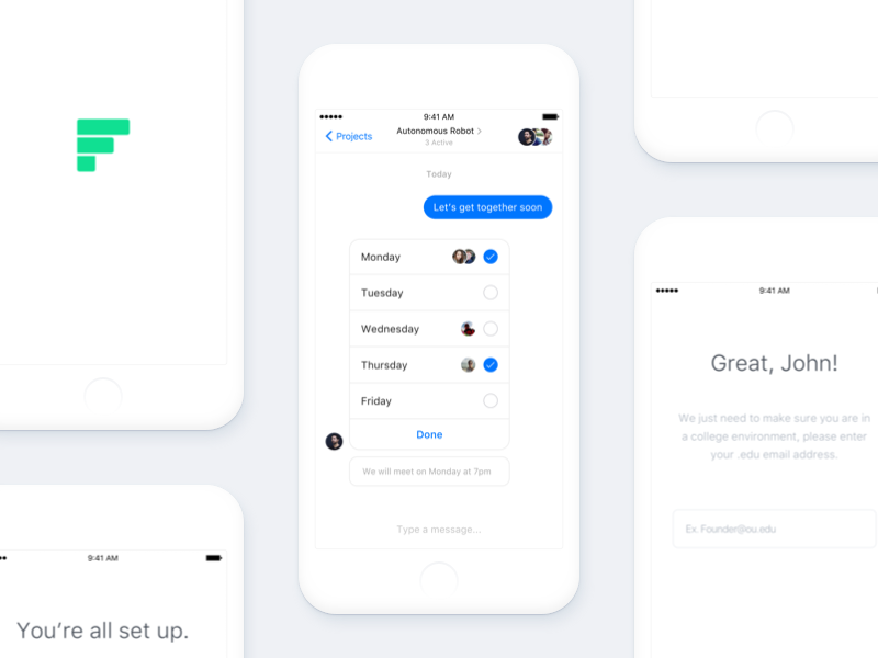 Founder header blue ios mockup white cta button app mobile founder