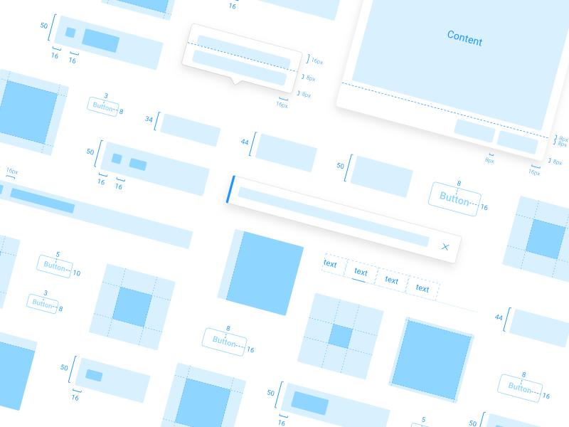 Components Handoff modal menu dropdown button card outline hover blue components system design