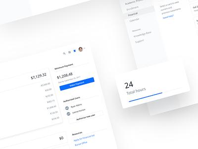 Financial Dashboard icon avatar dropdown list button blue shadow drop card dashboard financial