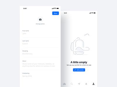Edit Profile empty state edit profile mobile navigation form input field save