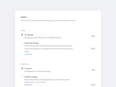 Export single-select table export radio list options settings card modal white blue