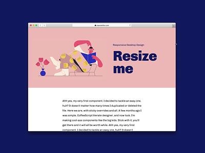 Resizable · Framer X browser sticky parallax feed mobile design illustration article responsive web cards card framer x framer