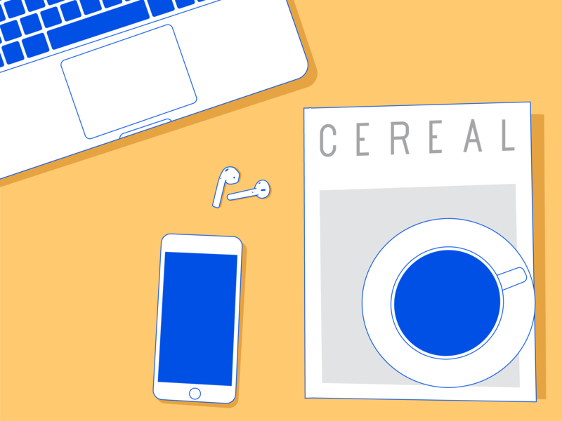 Morning setup coffee laptops airpods iphone cereal vector uitrends uidesign interface  minimal illustrator illustration design dailyui dailydesign creative