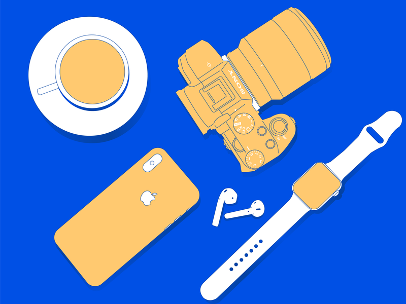 Creative tools sony airpods applewatch camera vector uitrends uidesign interface  minimal illustrator illustration design dailyui dailydesign creative