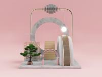 A Garden with a lamp