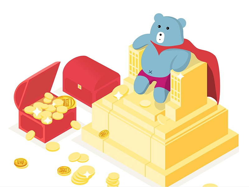 Bear King -2017 coin box king yellow red bear metal gold excellent award