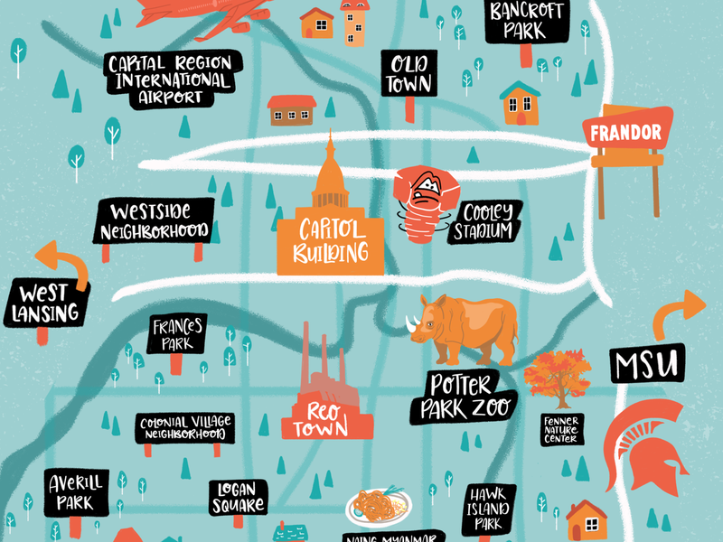 Illustrated Map - Lansing Michigan