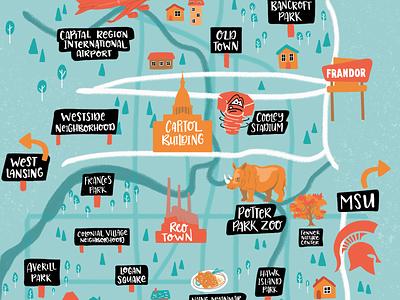 Illustrated Map - Lansing Michigan icons houses neighborhood zoo crop maps michigan lansing