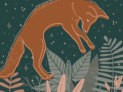 Swoop - Fox Illustration fauna flora botanical illustration jump fox