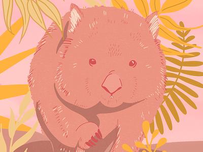 Wombat - Illustration digital illustration botanical illustration art conservation awares bushfires australia wombat illustration