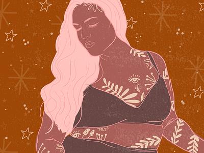 Celestial Body - Woman Illustration illustration digital illustration art doodle celestial feminine lady woman real bodies feminist