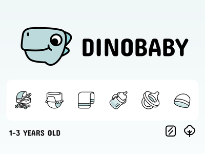 Dinobaby dino baby logo monk monkren