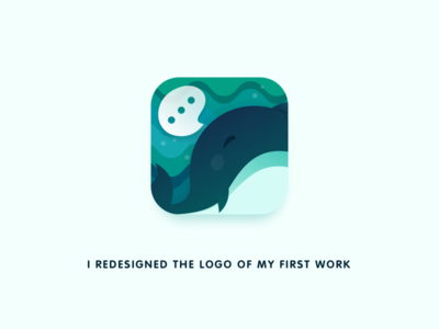 I redesigned the logo of my first work. social whale ui app icon logo monk
