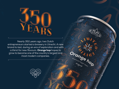 OrangeHop beer can - 350 years limited edition. branding and identity branding design logo royal illustrations branding creative packaging mockup packagingdesign packshot beer art beer branding beer label beer can beer packaging design package design packaging package limited edition
