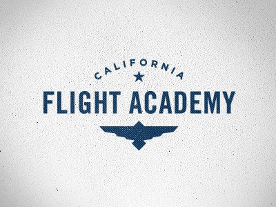 California Flight Academy Logo logo bird wings star blue gotham texture fly trade gothic