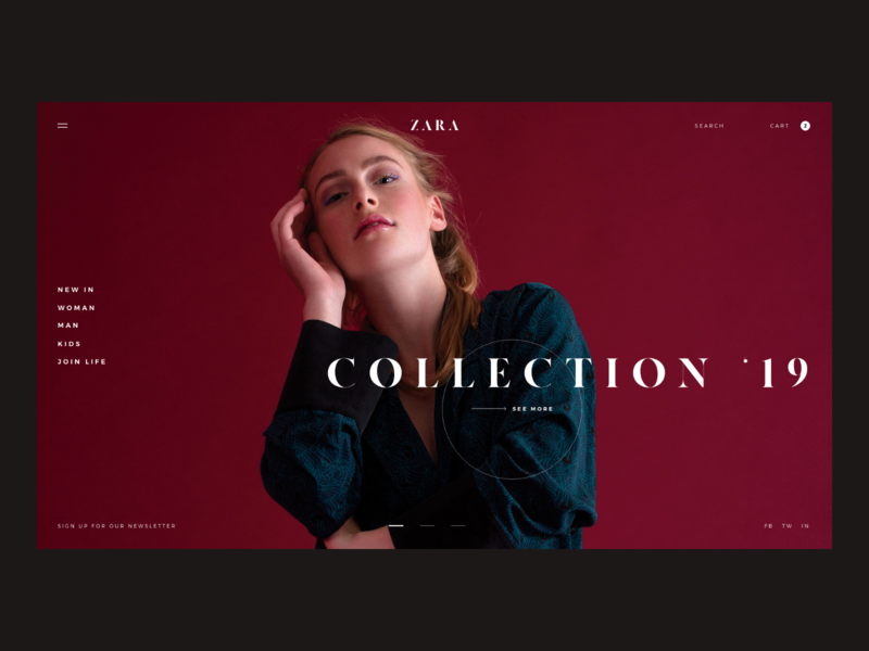 Zara Website Concept - Home Page store type brand photo shop e-comerce ux zara fashion photography design concept website web interaction ui