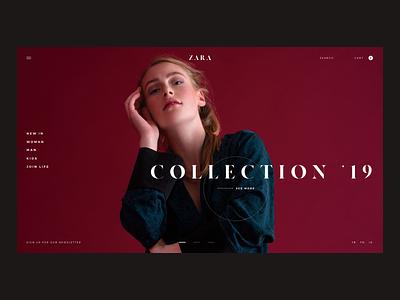 Zara Website Concept - Home Page store type brand photo shop e-comerce ux zara fashion photography design concept website web interaction ui