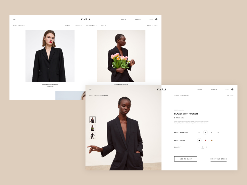 Zara Website Concept - Product Page e-commerce typography type design adobe xd shop concept ux zara fashion website web interaction ui