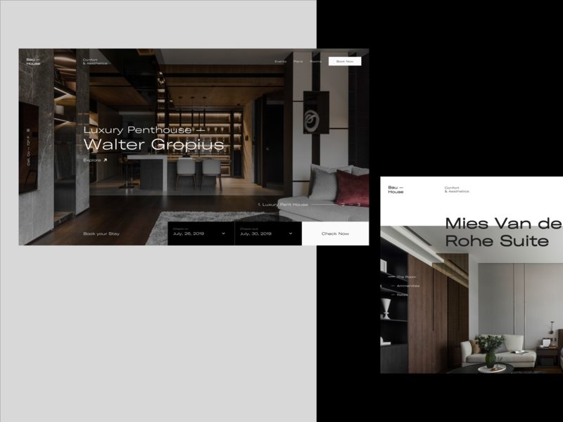 Bau—House Hotel Website hotels room booking booking desktop web design branding web ui type concept design interaction website
