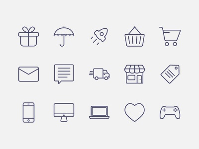 Simple Outline Icons icon label phone like stroke rocket mail shopping gift outline icons