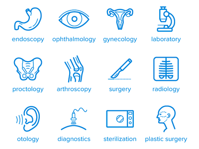 Medical Icon medical laboratory radiology surgery gynecology healthcare icon outline