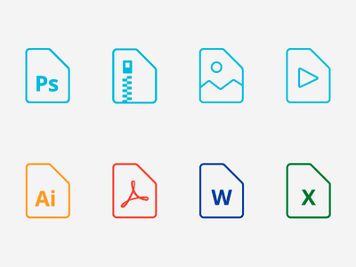 Free Files Icons rar zip picture word excel pdf psd ai file outline icons icon