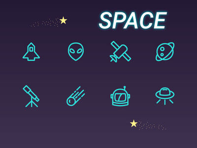 Space astronomy comet planet alien astronaut rocket illustrations outline icon space