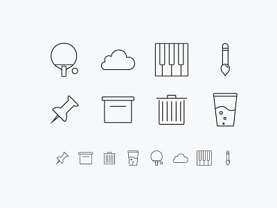 Random icons outline cup brush pin trash box cloud piano icon