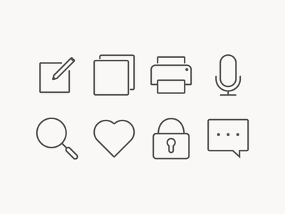 Simple icons for Interface outline search microphone edit lock messege print like icon icons
