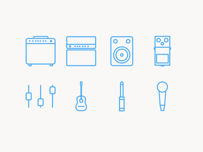 Rock'n'Roll icon pedal jack eq microphone speaker amp guitar rock