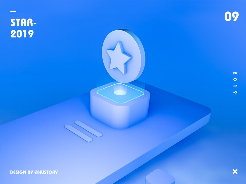 star star clean blue ios ui c4d design