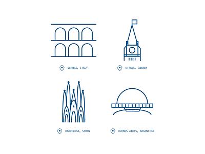 Location Icons verona buenos aires barcelona ottawa