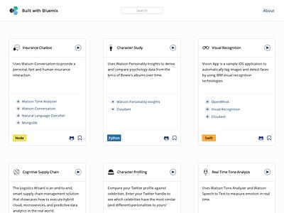 App Example Cards portfolio tiles apps bluemix github
