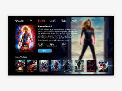 #Dailyui#025 TV UI adobe xd icon app ux uidesign dribbble dailyui interface design ux design app ui design