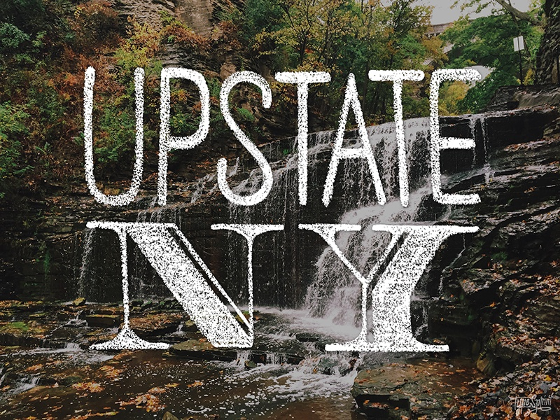 Upstate NY waterfall design lettering chalk type typography hand drawn hand lettered ithaca upstate new york photography typesprint