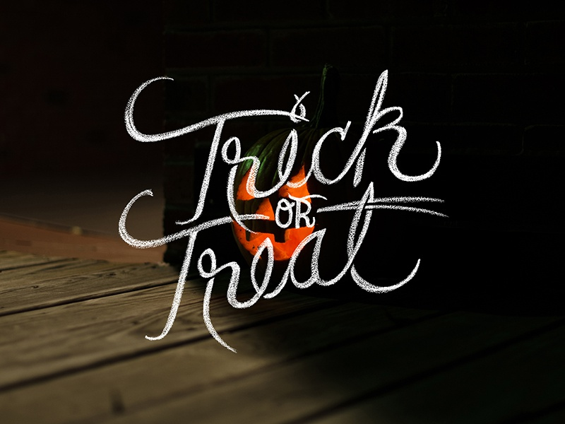 Trick Or Treat typesprint design lettering chalk type typography hand lettered hand drawn ithaca photography halloween pumpkin