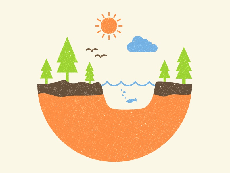 Mini Environment Infographic globe illustration infographic texture tree world nature environment landscape vector water clouds