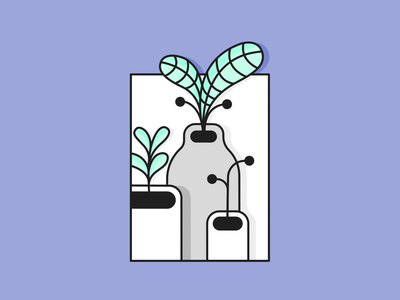 Grow Outside The Box color flower plant animation vector illustration line icon flat design