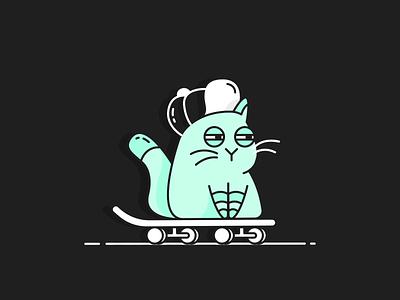 Die Katze cool skater skate cat animals animation vector illustration line icon flat design
